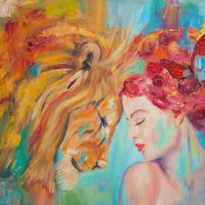 "A photo of Ramona Pintea's ""I Feel You"" painting, a perfect gift when buying art for Christmas."