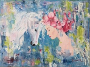 woman and horse painting