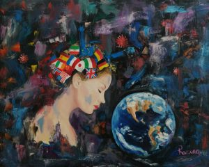 New painting Compassion is inspired by the Covid-19 events that are taking place in the world.